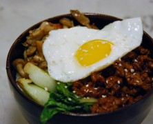 Asian Beef with Vegetables and Fried Eggs